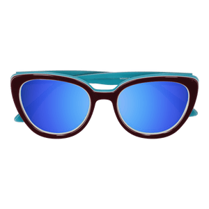 LA'JEAN - WINE-WHITE SUNGLASSES SAINT REETS MIRRORED ICE BLUE