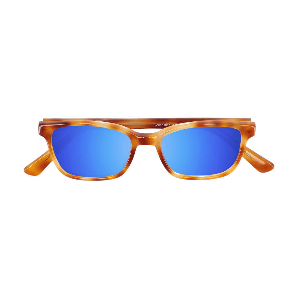 BIXBY - CARAMEL TORTOISE SUNGLASSES SAINT REETS MIRRORED DARK BLUE