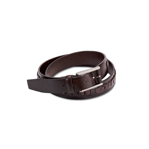 Inlay braided leather belt