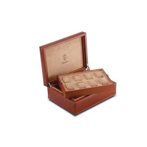 Two-level 8 watch storage case in wood and leather