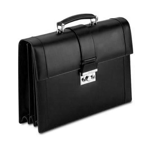 Black Leather Briefcase - 3 Gussets
