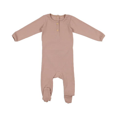 Pouf - Ribbed Henley Footie 3-6m Dusty Rose