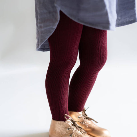 Little Stocking Co. Wine Cable Knit Tights