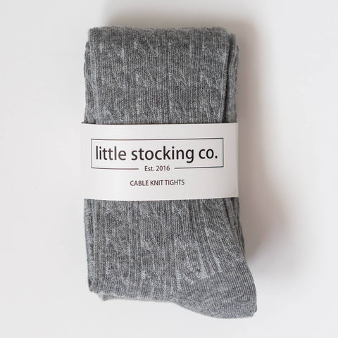 Little Stocking Co. - Gray Cable Knit Tights