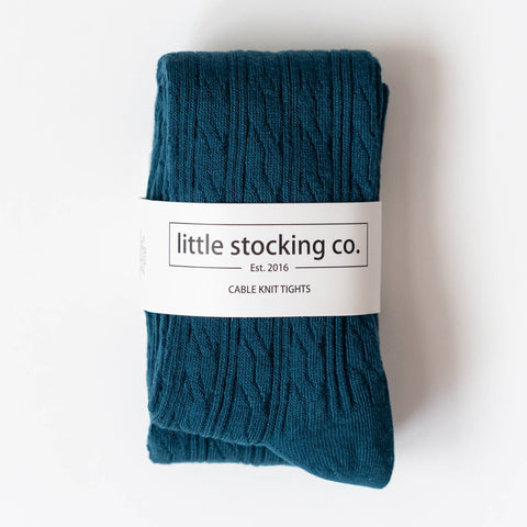 Little Stocking Co. - Deep Teal Cable Knit Tights