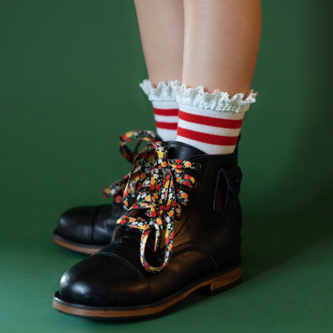Little Stocking Co. - Red Stripe Lace Midi Socks