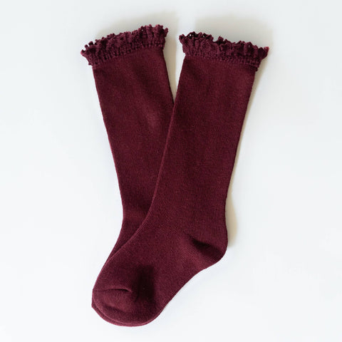 Little Stocking Co. - Wine Lace Top Knee Highs