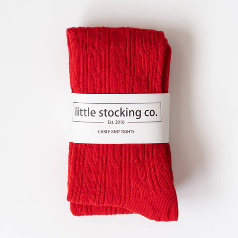 Little Stocking Co. - True Red Cable Knit Tights