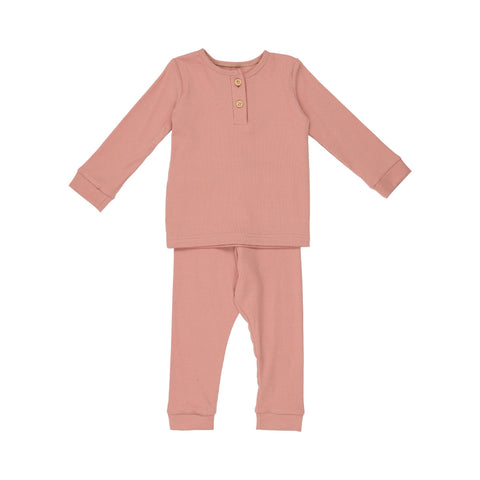 Pouf - Ribbed Henley 12-18m Dusty Rose