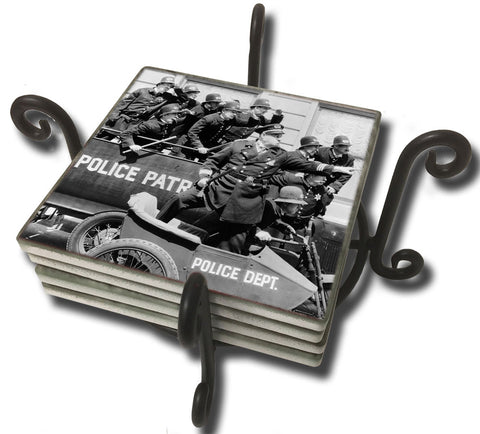 Tumbled Tile Coaster Set - Keystone Cops in Hot Pursuit Patrol Car and Motorcycle