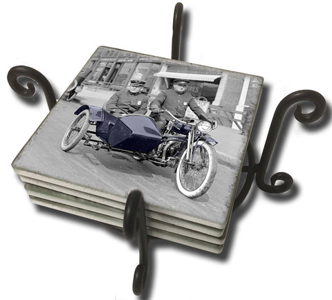 Tumbled Tile Coaster Set - Vintage Photo Motorcycle with Side Car On Patrol