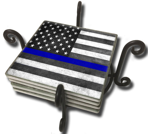 Tumbled Tile Coaster Set - Thin Blue Line Subdued American Flag