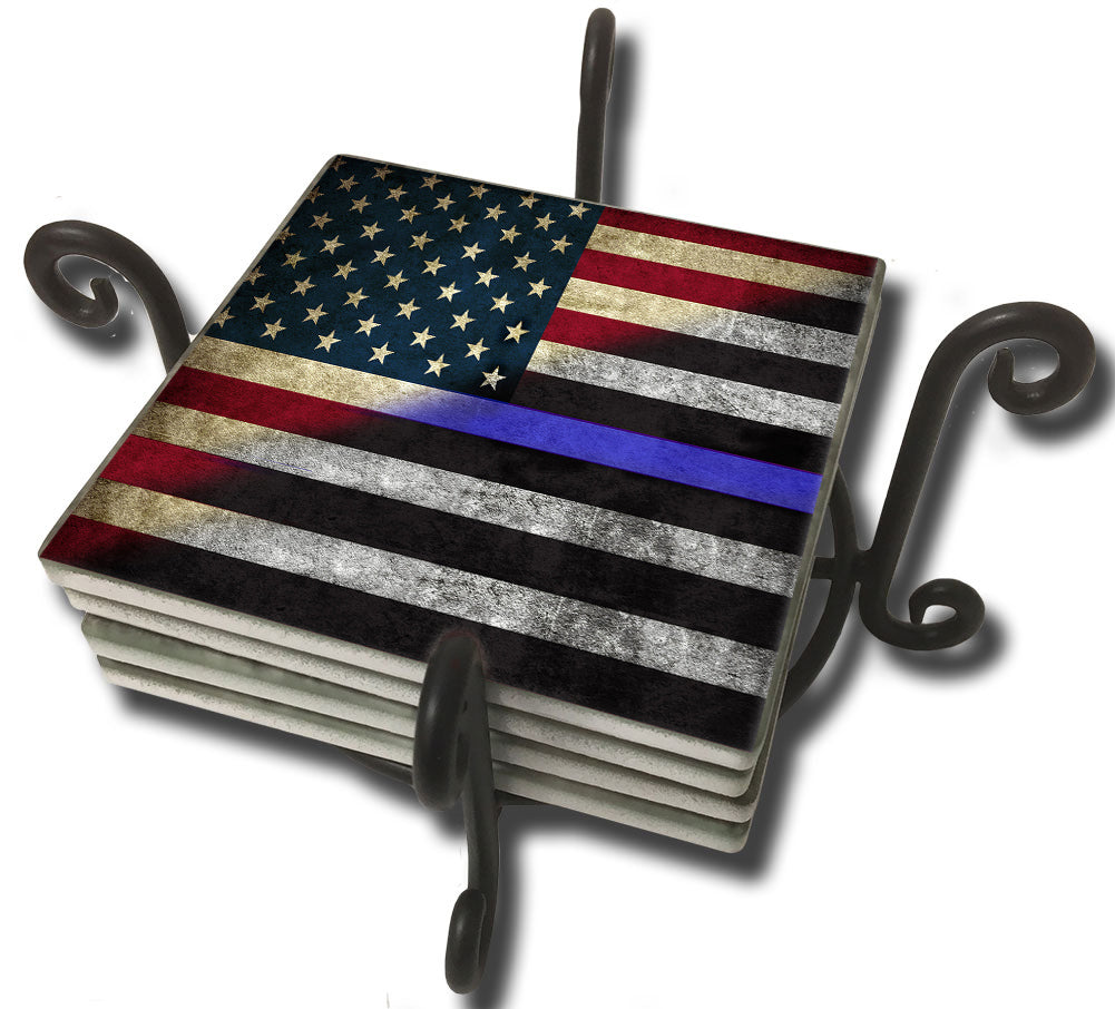 Tumbled Tile Coaster Set - Thin Blue Line Red White Blue Flag Design