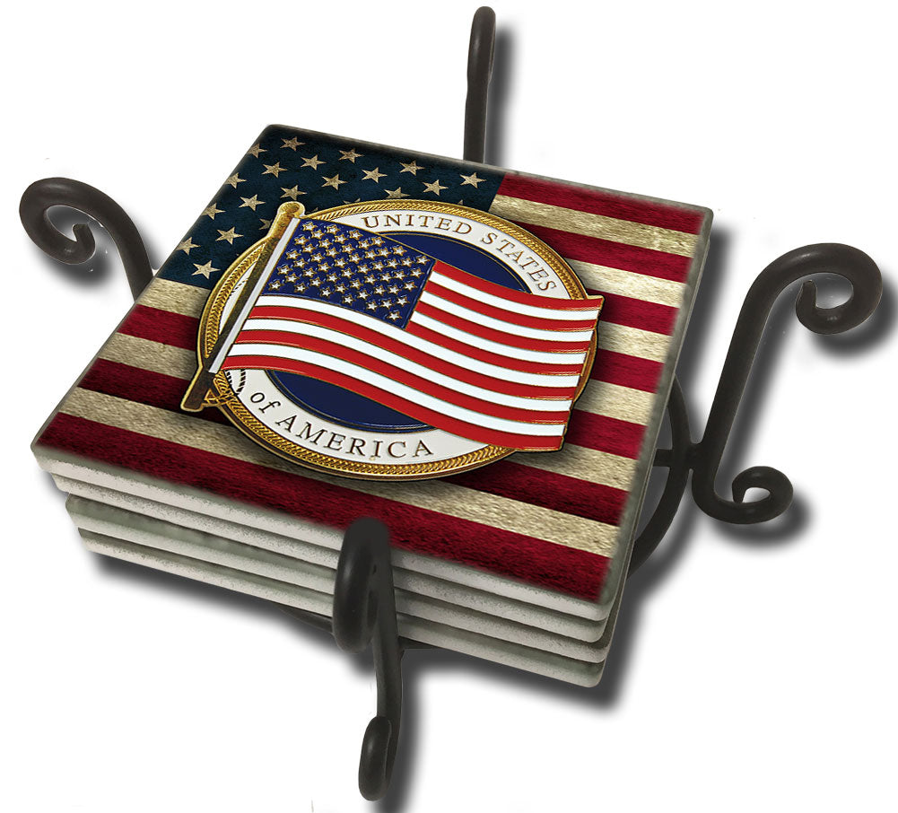 Tumbled Tile Coaster Set - Flowing American Flag Old Glory Design