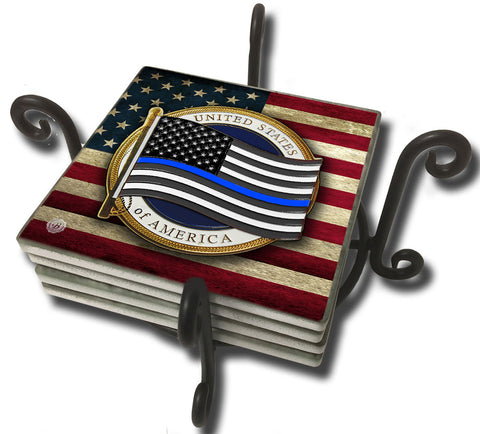 Tumbled Tile Coaster Set - Thin Blue Line Flowing Flag American Flag Design