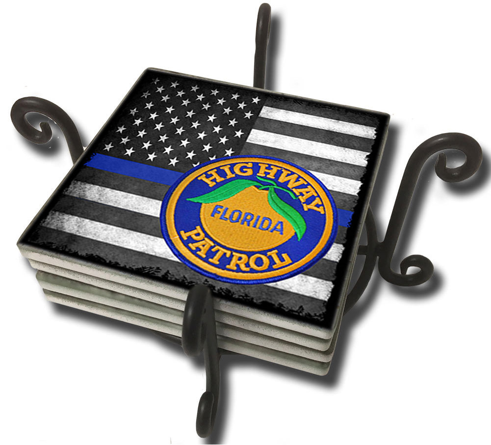 Tumbled Tile Coaster Set - Thin Blue Line American Flag Florida Highway Patrol
