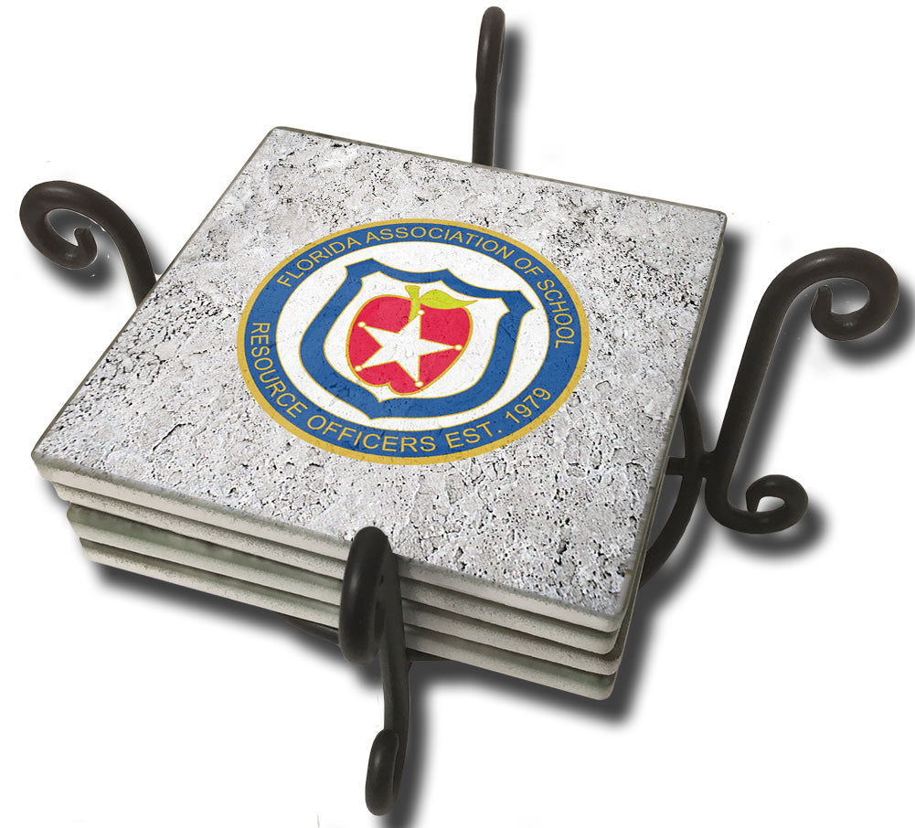 Tumbled Tile Coaster Set - FASRO Florida Association of School Resource Officers