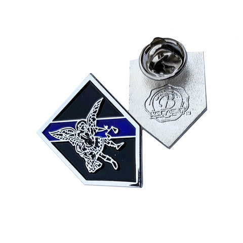Thin Blue Line Police Sheriff St. Michael Patron Saint of Law Enforcement - Shield Shape Metal Lapel Pin