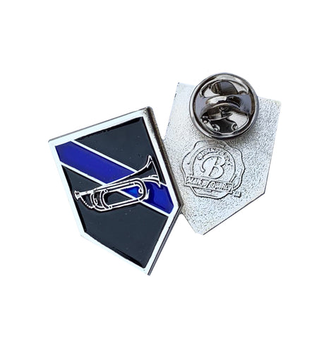 Thin Blue Line Police Sheriff Bugle Horn - Shield Shape Metal Lapel Pin