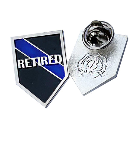 Thin Blue Line Police Sheriff Retired - Shield Shape Metal Lapel Pin