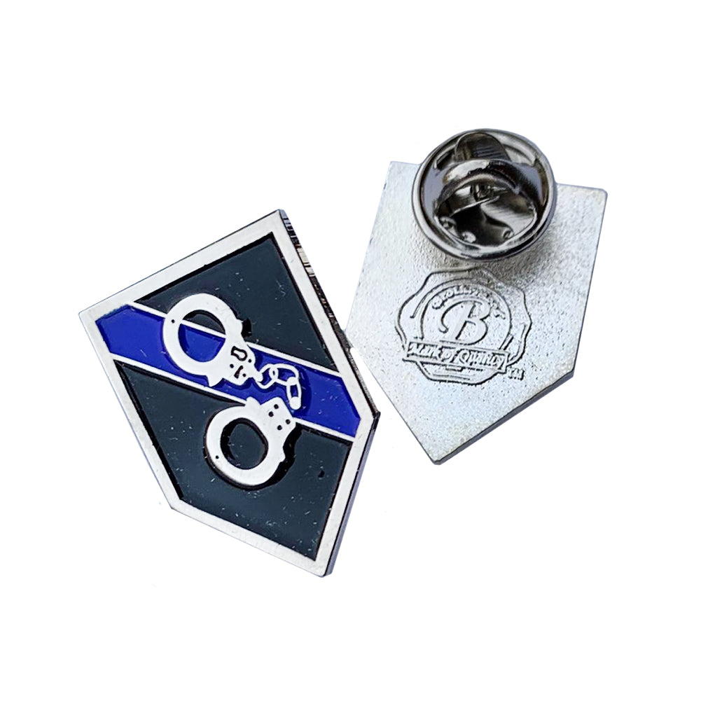 Thin Blue Line Police Sheriff Handcuffs Tools of the Trade - Shield Shape Metal Lapel Pin