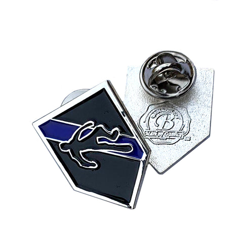 Thin Blue Line Police Sheriff  CSI Chalk Outline Design - Shield Shape Metal Lapel Pin