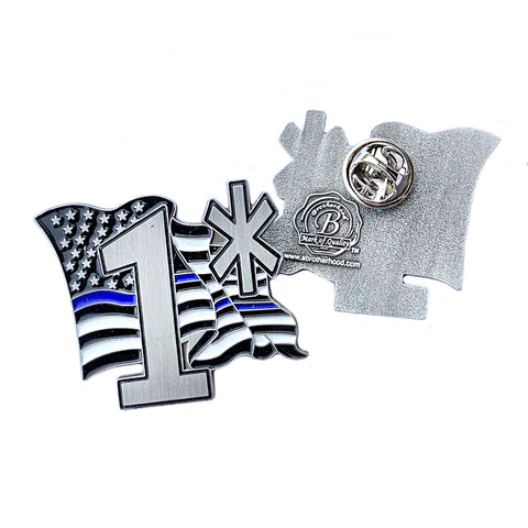 Thin Blue Line Police Sheriff 1* Flowing American Flag - Shield Shape Metal Lapel Pin