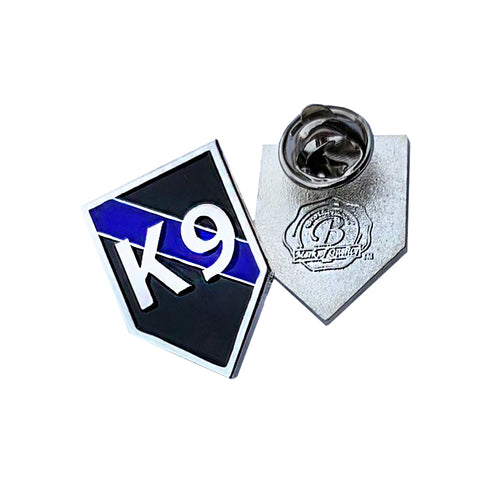 Thin Blue Line Police Sheriff K9 Canine - Shield Shape Metal Lapel Pin