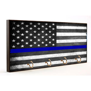 Law Enforcement Thin Blue Line Flag Wood Key Hanger Dog Leash Holder