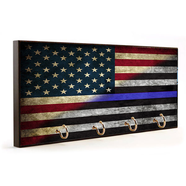 Law Enforcement Thin Blue Line American Flag Wood Key Hanger Dog Leash Holder