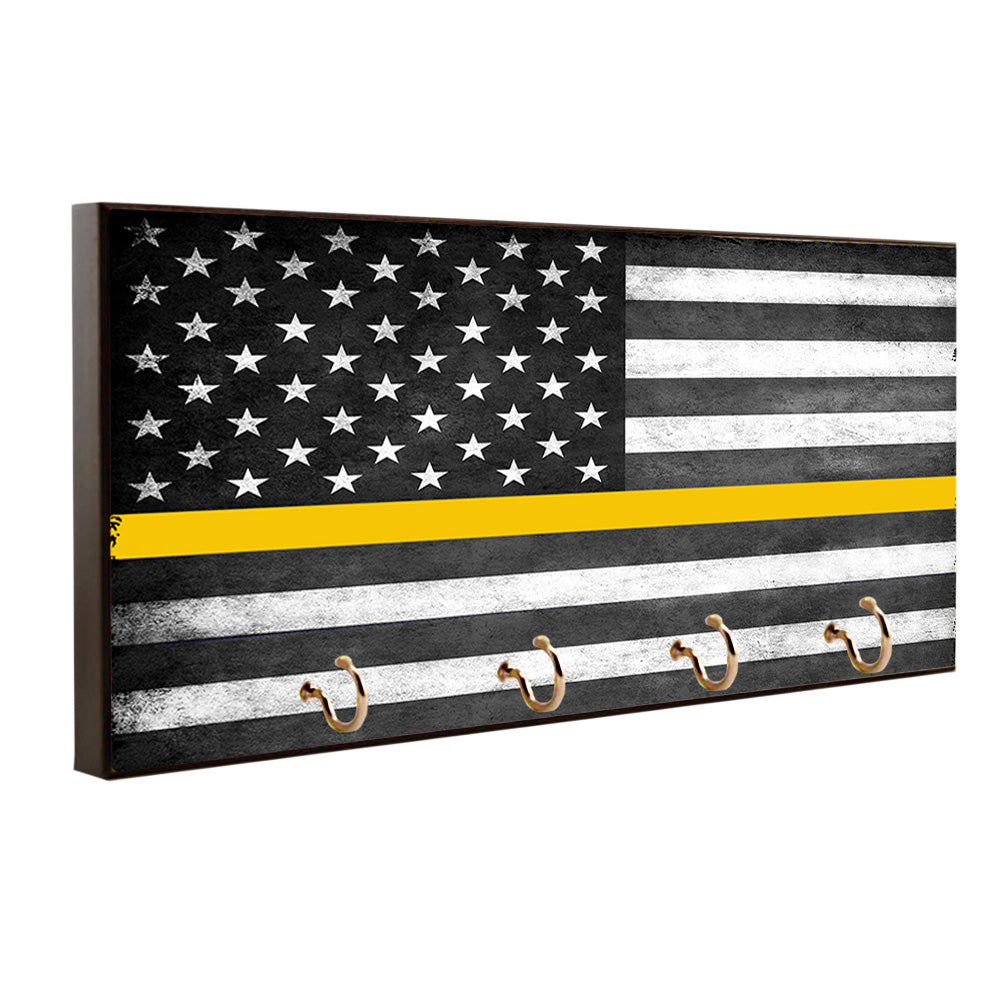 Dispatcher 911 Operators Thin Gold Line American Flag Wood Key Hanger Dog Leash Holder