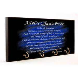 A Police Officer's Prayer Thin Blue Line Wood Key Hanger Dog Leash Holder