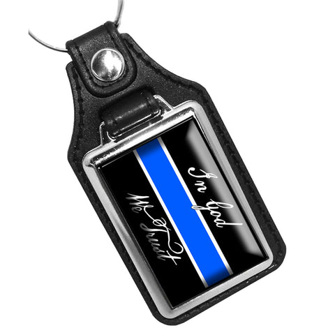 Thin Blue Line In God We Trust Flag Design Leather Key Ring