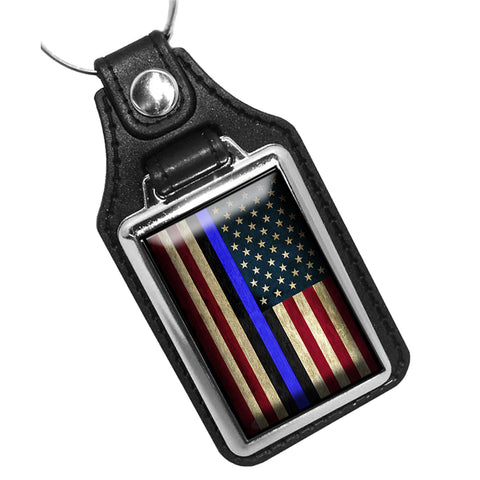 Thin Blue Line Law Enforcement Red White Blue American Flag Leather Key Ring