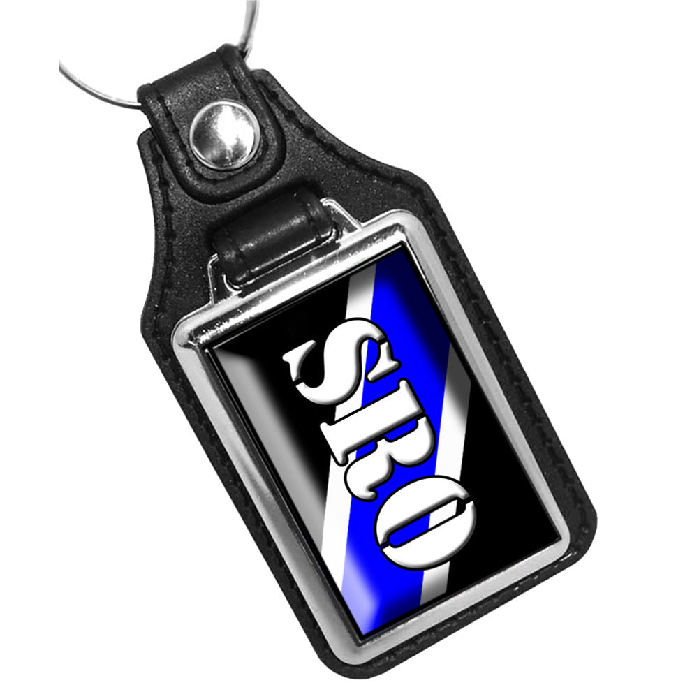 School Resource Offer Thin Blue Line Leather Key Ring