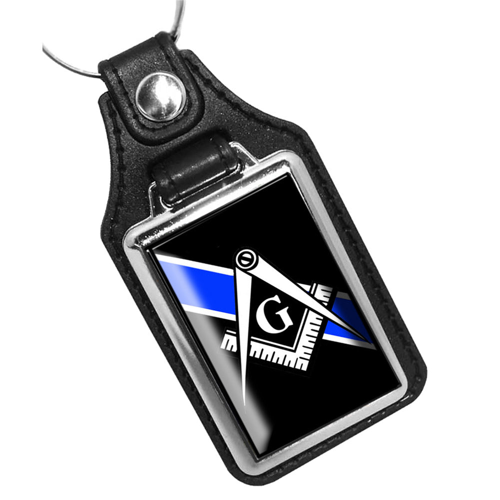 Thin Blue Line Mason Square Compass Design Key Ring
