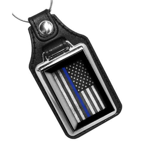 Law Enforcement Thin Blue Line American Flag Leather Key Ring