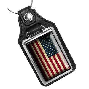 Subdued American Flag Red White Blue Leather Key Ring