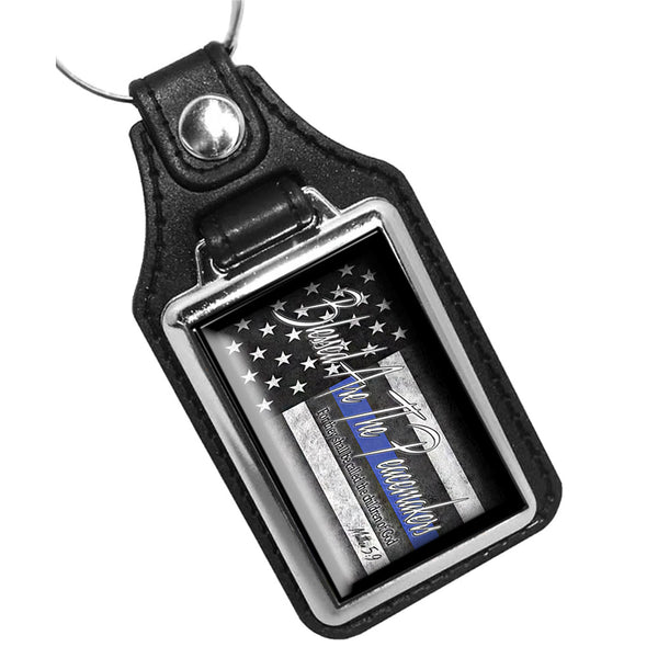 Thin Blue Line American Flag Blessed Are The Peacemakers Leather Key Ring