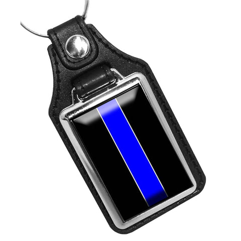 Thin Blue Line Law Enforcement Flag Design Leather Key Ring