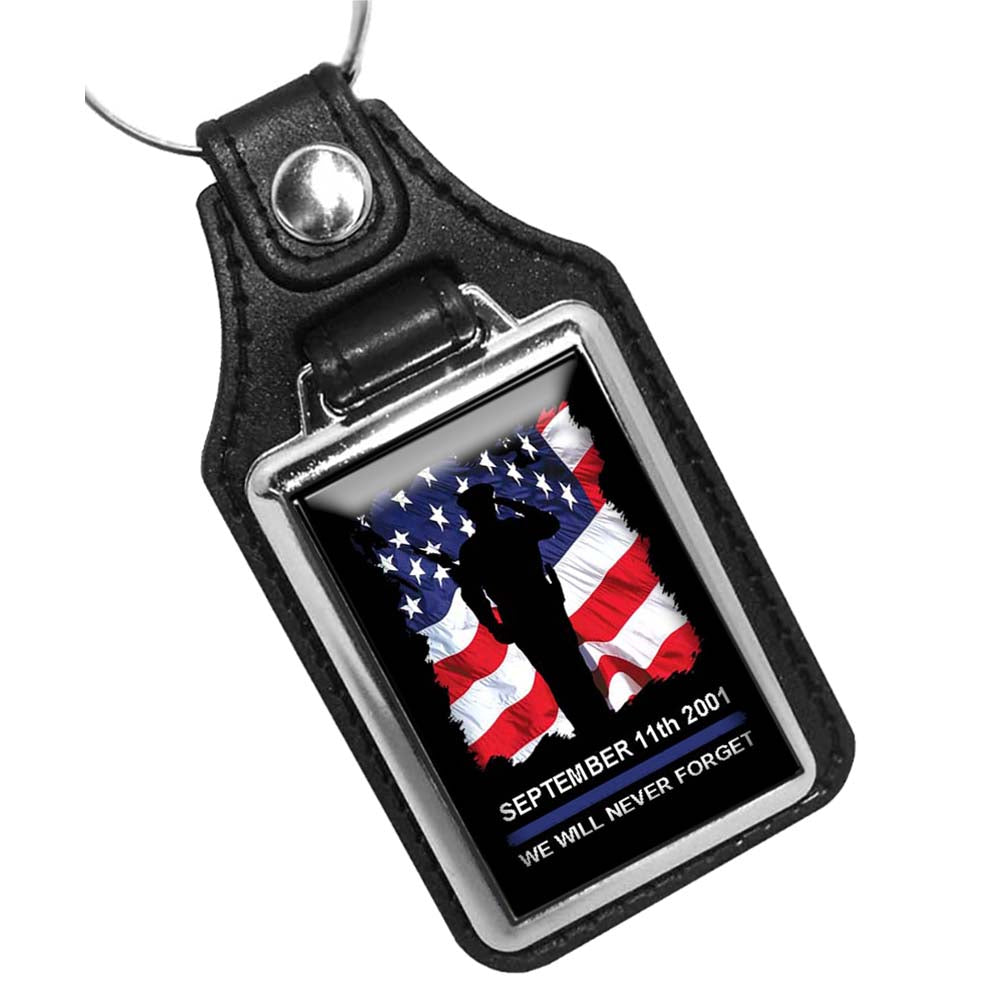 Sept. 11th 2001 We Will Never Forget Law Enforcement Design Leather Key Ring