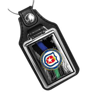 Thin Blue Line Thin Green Line FASRO Leather Key Ring