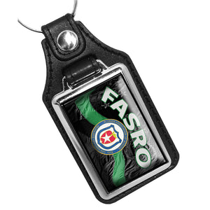 FASRO Thin Green Line Flowing American Flag Leather Key Ring