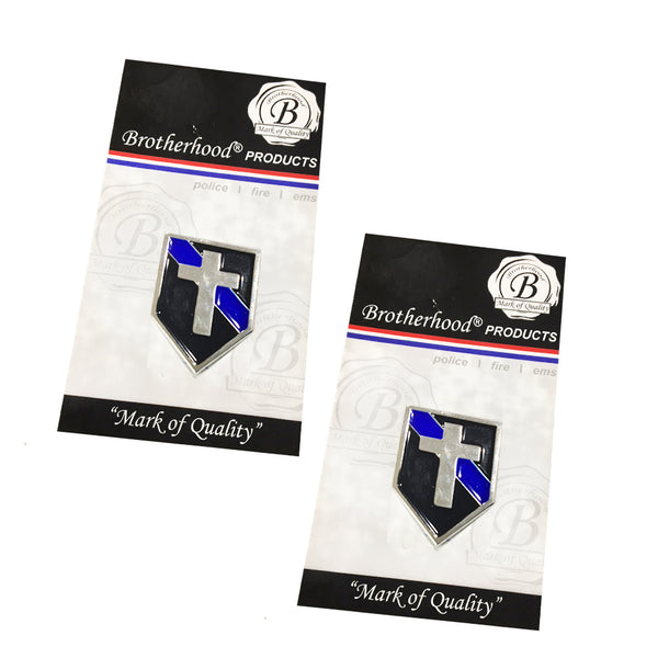 Thin Blue Line Police Sheriff Chaplain Cross Shield Shape Metal Lapel Pin