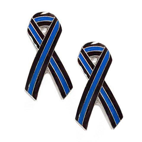 "Thin Blue Line Police Sheriff 1"" Ribbon Design - Ribbon Shape Metal Lapel Pin"