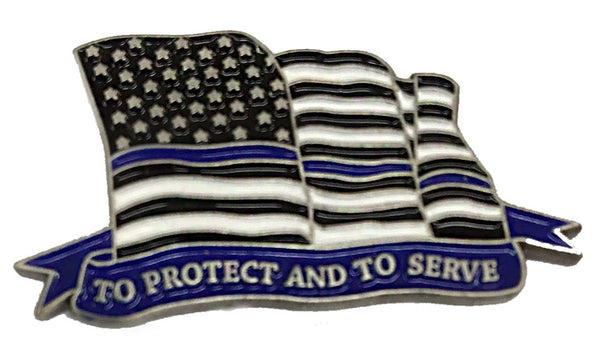 Thin Blue Line Police Sheriff To Protect And To Serve Flowing American Flag - Shield Shape Metal Lapel Pin