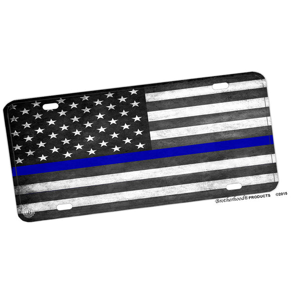 Thin Blue Line Subdued American Flag Aluminum License Plate