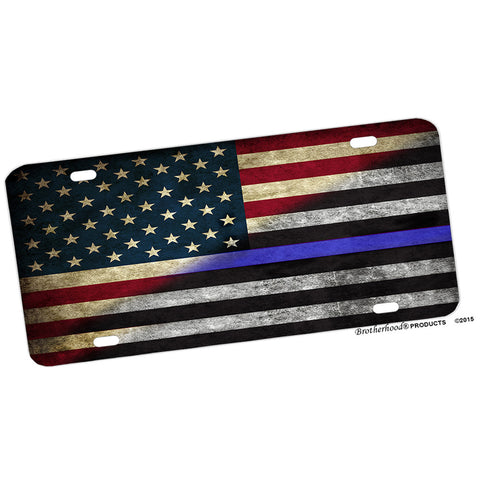 Thin Blue Line Red White Blue American Flag Aluminum License Plate