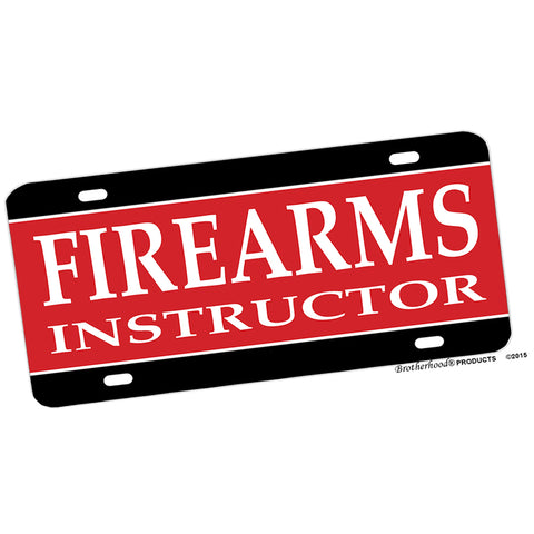 Law Enforcement Firearms Instructor Black Red Aluminum License Plate