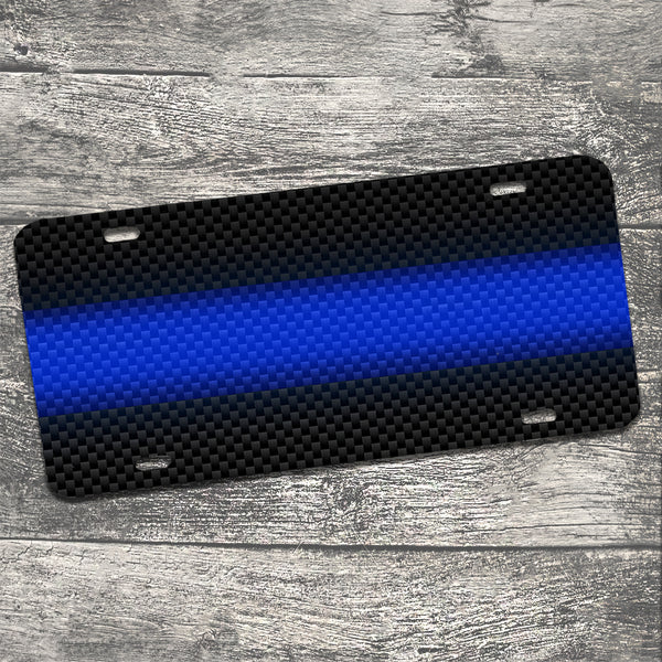 Thin Blue Line Carbon Fiber Design Aluminum License Plate